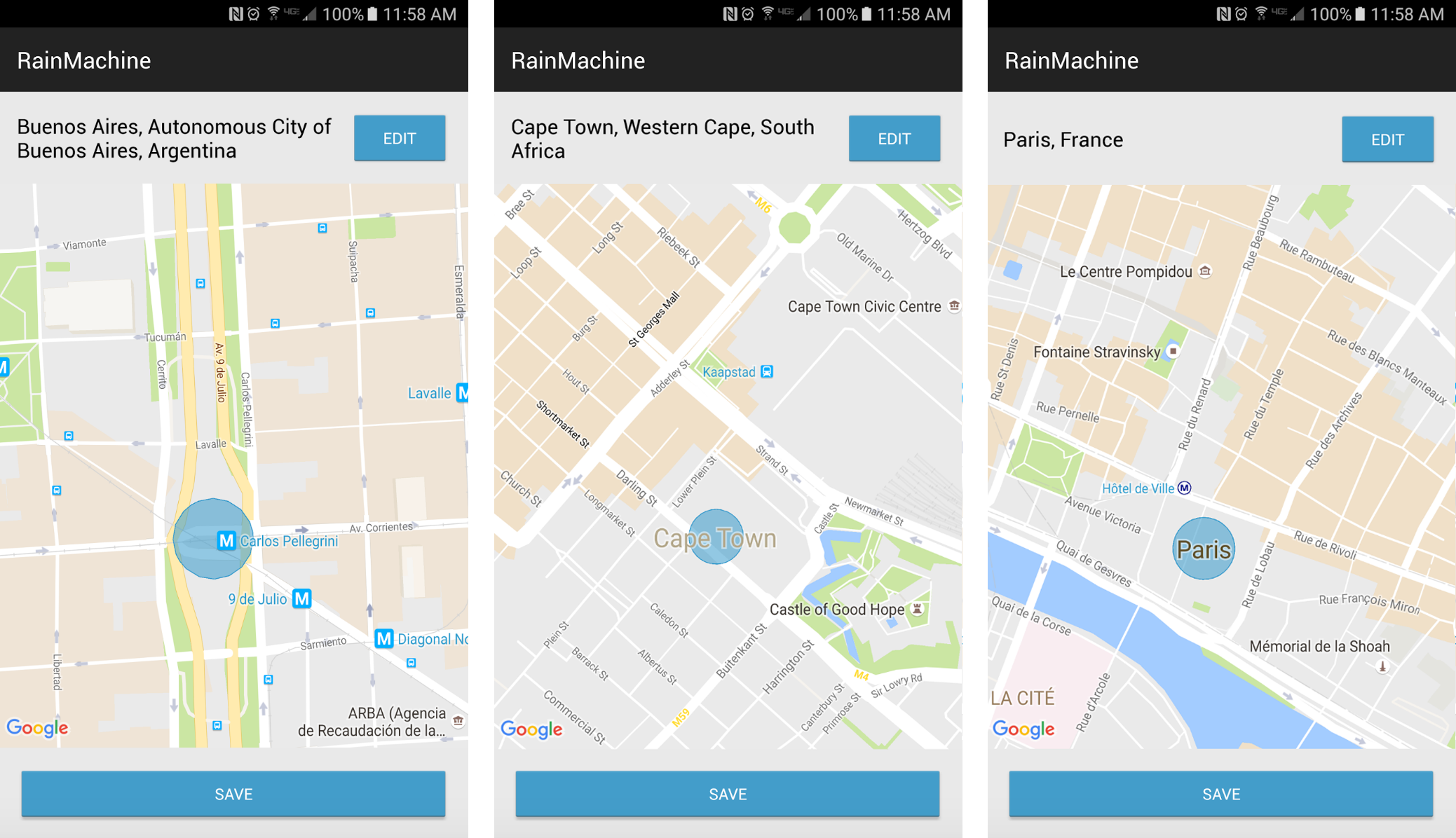 Option to choose RainMachine location by using RainMachine Android mobile application