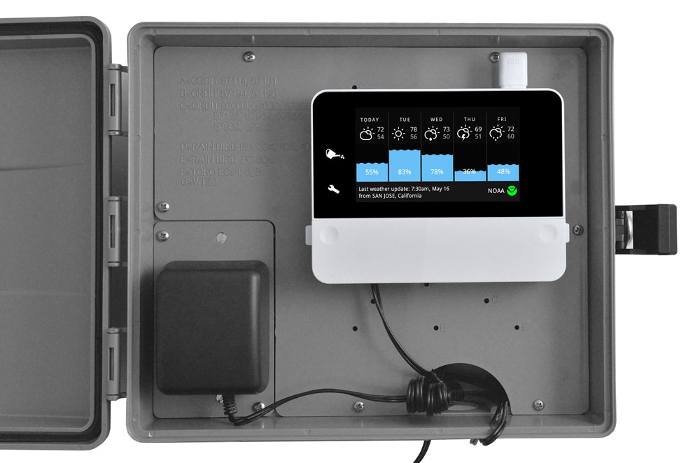 RainMachine Touch HD mounted inside of Orbit 57095 Sprinkler System Weather Resistant Outdoor Mounted Control Timer Box Cover