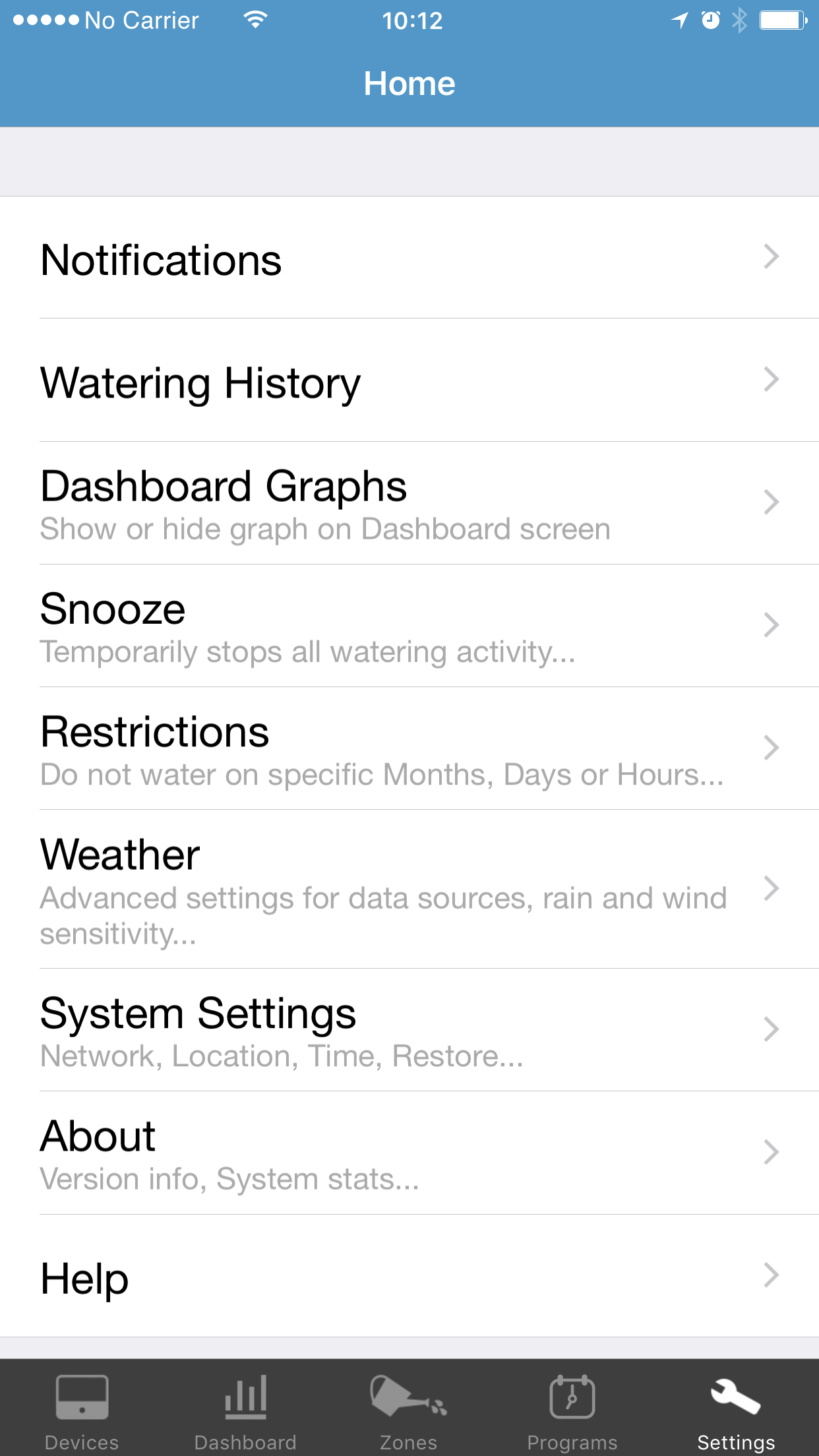 Settings edit screen of the RainMachine mobile application